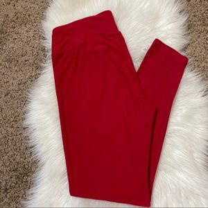Lularoe tall and curvy solid red leggings